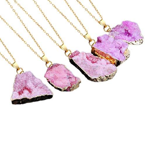 QiXuan Natural Irregular Crystal Gemstone Handmade Pendant Gold Plated Collar Collar de Cristal Rock Quartz