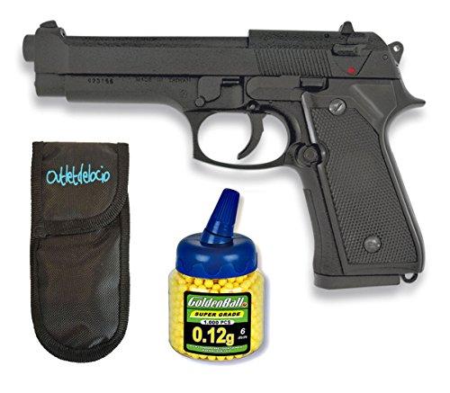 Outletdelocio. Pistola Airsoft MF-9S metálica. Calibre 6mm + Funda Portabalines + 1000 Bolas. 45878/21993/23054