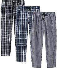 JINSHI Hombre Pantalones Largos de Pijama Algodón Casa Pantalón a Cuadros con Bragueta de Botón 3 Pack L