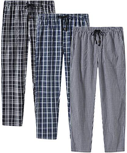 JINSHI Uomo Pantaloni Pigiama Cotone Pantaloni Lunghi a Quadretti con Bottone Pacco da 3, XXL