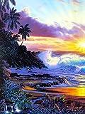 Cuadro de diamantes 5D junto al mar, cuadrado completo, bordado de diamantes redondos, puesta de sol, paisaje, punto de cruz, mosaico, árbol, decoración del hogar, A3, 45x60cm