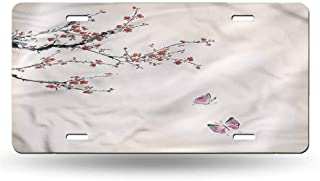 dsdsgog Front Cover for Cars Watercolor Flower,Cherry Blossom 12x6 inches,Plate Frames Humor