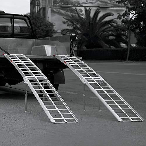 Rampe de chargement Pliable Aluminium Pieds de support Moto VTT Quad Rampe daccs 226cm 680kg