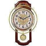 QXbecky Reloj de pared Reloj de pared giratorio Sala de estar Moda simple Dormitorio retro Reloj de cuarzo silencioso Reloj moderno Cuadrado de grano de madera 27x43cm