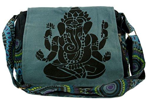 GURU SHOP Schultertasche, Hippie Tasche, Goa Tasche - Grau, Herren/Damen, Baumwolle, Size:One Size, 23x28x12 cm, Alternative Umhängetasche, Handtasche aus Stoff