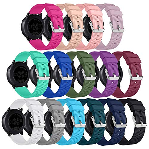 Replacement Compatible for Samsung Galaxy Watch 42mm Bands,15PCS 20mm Silicone Wristband for Galaxy Watch Active2/Galaxy Watch Active 40mm/Gear Sport/Gear S2 Classic for Women with Silver Buckle