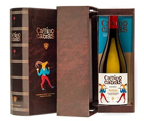 CAMINO DE CABRAS Estuche regalo - vino blanco - Albariño D.O. Rias Baixas - Producto Gourmet – caja de vino - Vino bueno para regalo - Vino Premium - 1 botella x 75cl