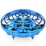 HHYSPA Mini UFO Drone Quad Induction Levitation Flying Toy Hand-Control Kids, Great Flying Drone Gift for Boys/Girls, Flying Ball Drone Easy Indoor Outdoor Toys Blue