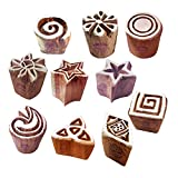 粘土 印刷スタンプ 芸術的 小さい フローラル 星 デザイン ウッドブロック (のセット 10)