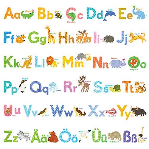 DECOWALL DW-1808 Alfabeto tedesco animale dell'acquerello Adesivi da Parete Decorazioni Stickers Murali Soggiorno Asilo Nido Camera Letto per Bambini decalcomanie