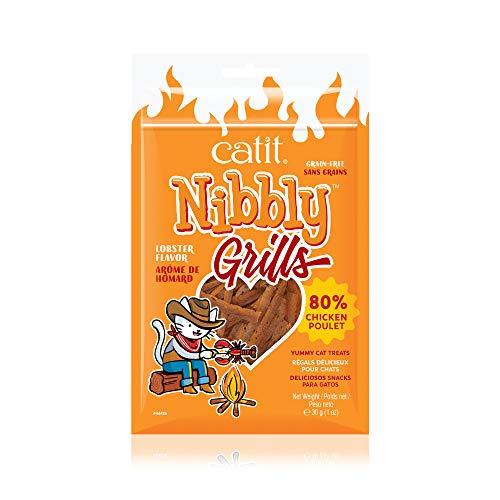 Catit Nibbly Grills Kaustreifen für Katzen aus Hühnerbrustfilet mit Hummer, 30 g