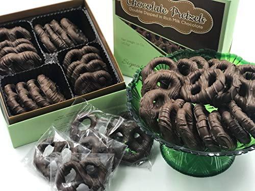 Gourmet Chocolate Covered Pretzel Bulk - Dark Chocolate Double Dipped Pretzels - Freshly Prepared Pretzels - Premium Taste And Quality - Makes a Cherished And Treasured Gift