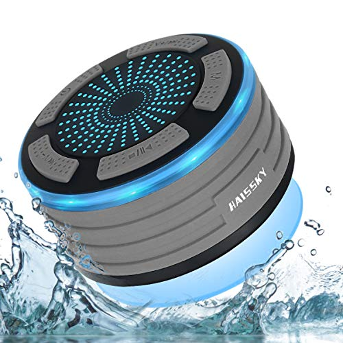 Altavoz Bluetooth Ducha Impermeable portátil inalámbrico con Luces de Humor LED, Ventosa,Micrófono...