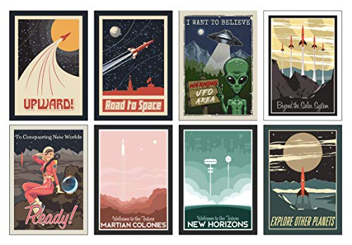 Weltraum NASA Poster Set - 8 x A4 Universum Poster - Das perfekte Geschenk für kleine und große Astronauten