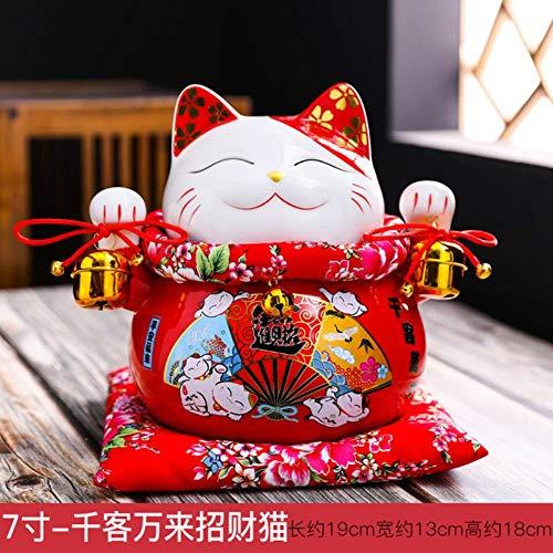 7 Inch Keramische Lucky Cat Ornamenten Spaarpot Winkel Opening Kassa Meubilair Home Woonkamer TV Kast Vakantie Gift nieuw, C, 7 Inch