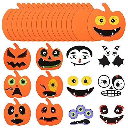 32 Stück Halloween Pumpkin Craft Kit, Halloween Kürbisdekoration Sticker Moosgummi Halloween Aufkleber für Halloween Party Dekorationen DIY Bastelset für Kinder
