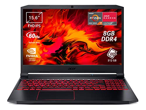"Acer Nitro 5 AN515-44-R6WC Notebook Gaming con Processore AMD Ryzen 7 4800H, Ram 8 GB DDR4, 512 GB PCIe NVMe SSD, Display 15.6"" FHD IPS LED LCD, NVIDIA GeForce GTX 1650 4 GB, Windows 10 Home"