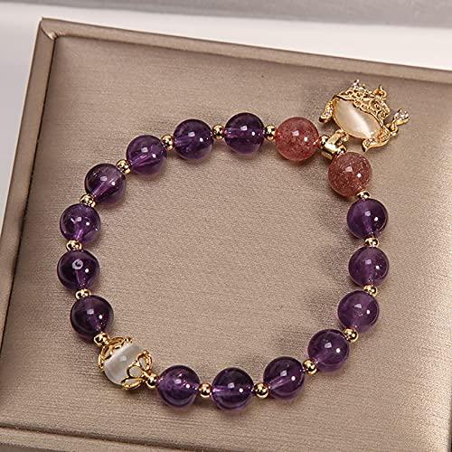 Pulsera de piedras preciosas naturales Elástico chakra gemas piedras amatista cuentas colgante vacaciones joyería curación cristal cuarzo hecho a mano joyería para mujer hombres regalos púrpura