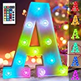 Obrecis 16 Color Changing Light Up Letters Lights 26 Alphabet, Marquee Sign with Remote Control Diamond Bulb Words for Valentine's Day, Halloween, Christmas Decorations- RGB Letter A