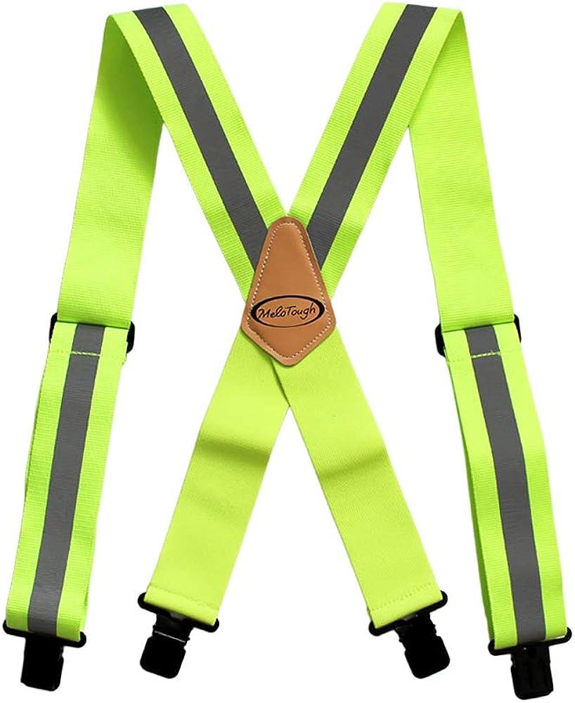Reflective Safety Suspenders|Work Suspenders with Hi Viz Reflective Strip Hold Up Tool Belt Suspenders…
