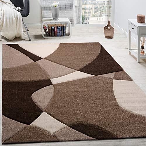 Paco Home Alfombra De Diseño Moderna Estampado Geométrico Contorneada Marrón Crema Beige, tamaño:160x230 cm
