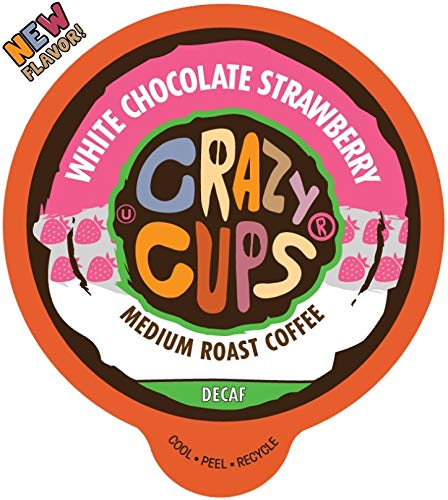 Crazy Cups Flavored Single-Serve Coffee for Keurig K-Cups Machines, Decaf White Chocolate Strawberry, 22 Pods per Box