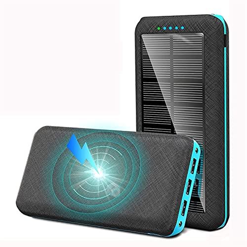 Banco de energía del teléfono, Banco de energía Solar de Alta Capacidad 20000mAh, Qi Fast Wireless Charger Portable USB Powerbank PowerBank con Linterna, para teléfono móvil 12
