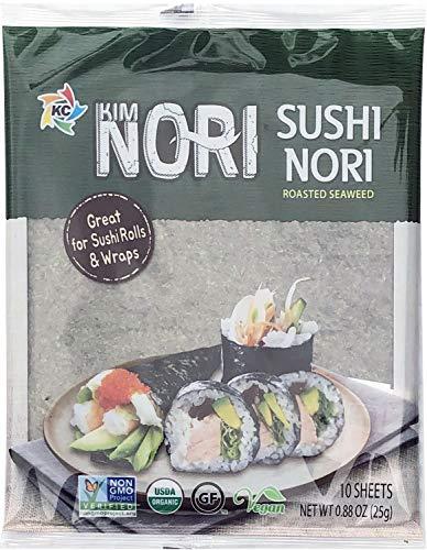 Organic 10 Full Sheet KIMNORI Sushi Nori Premium Roasted Seaweed Rolls Wraps Snack 0.88 OZ ( 25g ) Laver, USDA ORGANIC, Gluten Free, No MSG, NON-GMO, Vegan, Kosher (10 Sheet)
