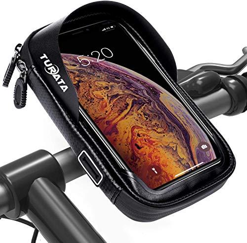 TURATA Wasserdicht Fahrrad Handyhalterung Fahrradlenkertasche Handyhalterung Fahrradtasche Rahmentaschen Multifunktional Motorrad für 6