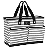 SCOUT BJ Bag, Large Tote Bag with 4 Exterior Pockets & Interior Zippered Compartment, Lightweight Utility Tote Bag for Teachers and Nurses in Oxford News Pattern (Multiple Patterns Available)