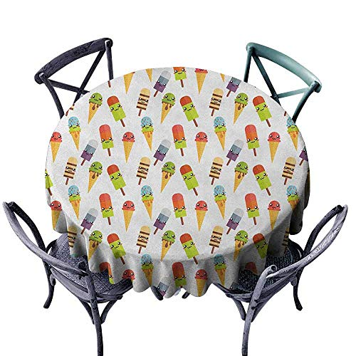 ScottDecor polyester Round tablecloth Table Cover Ice Cream,Yummy Cones in with Emoji Faces Kids Boys Cartoon Design Print, Multicolor diameter 138 cm