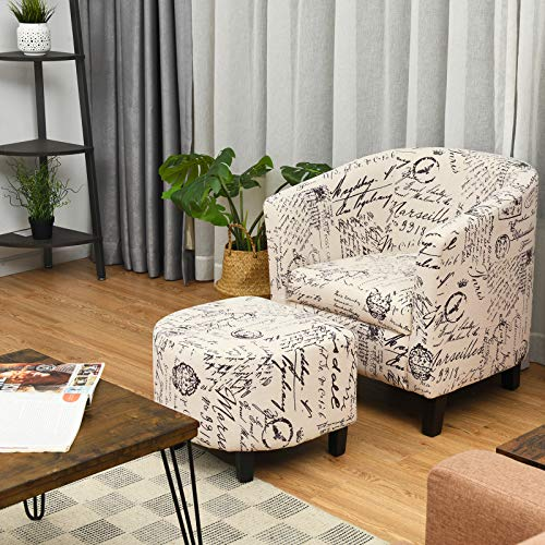 Giantex Modern Accent Chair with Ottoman, Upholstered Barrel Tub Chair and Footrest Set, Linen Fabric Club Arm Chair w/Solid Wood Legs, Ideal for Living Room,...