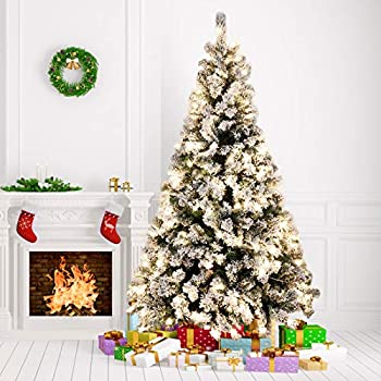 Amzdeal 6Ft Artificial Christmas Tree Snow Flocked -928 Hinged Branches Pre-lit Christmas Tree with 250 Warm White Lights & Metal Foldable Stand Perfect Christmas Decoration for Home Outdoor Mall