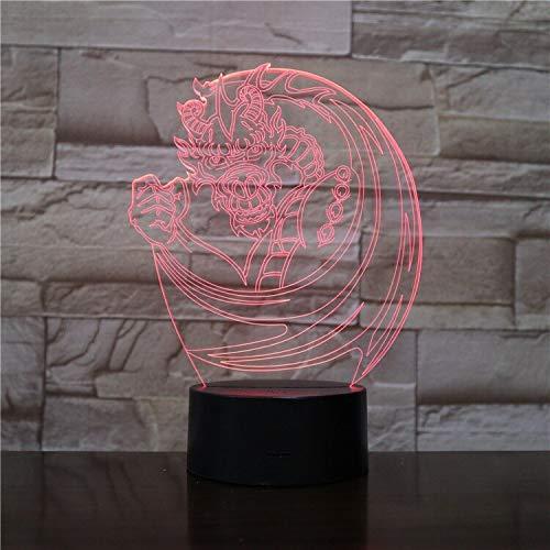 Chinesischer Drache Phoenix 3D Nachttischlampe 3D Optisch Mehrfarbiger Kinderfestpreis Preis Individuelle LED Nachtlicht Nachttischlampe Innen