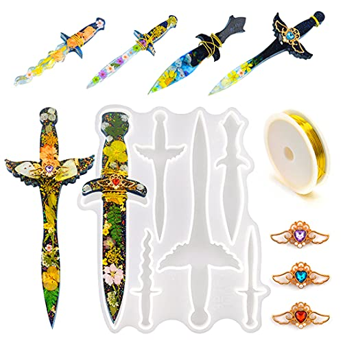Koonafy 6 Stück Silikonform Epoxidharz Dagger Mold,Gießharz Formen Resin Sword with 3pcs Angel Wings+a Roll of Copper Wire, DIY Dolch Casting Gießform for Keychain, Decoration,Cosplay
