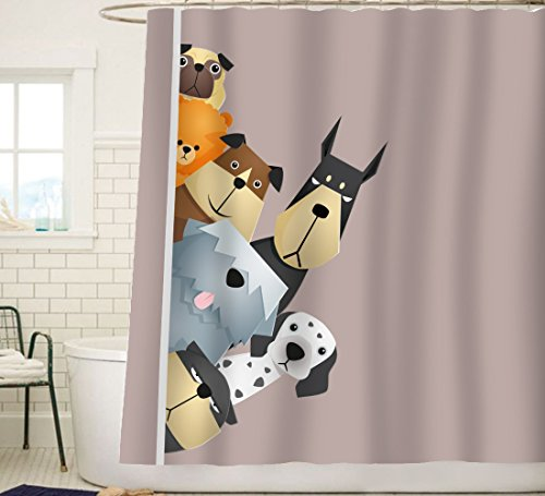 Duschvorhang Sunlit-Design, Polyester Textil, Cartoon Hunde, 72*72 inches