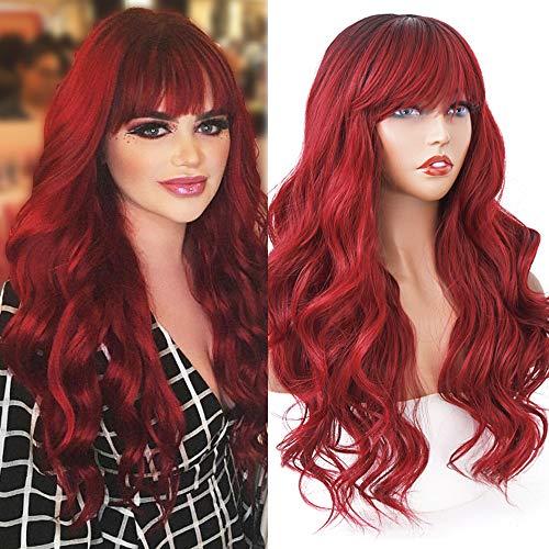 HELENE Hair Burgundy Red Wig Ombre …