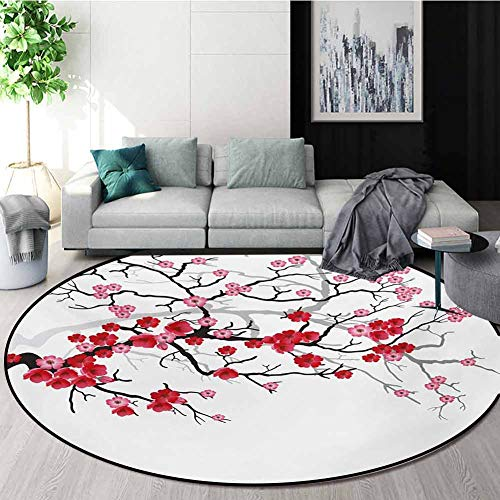 Read About Nature Computer Chair Floor Mat,Japanese Plant Sakura Flower With Abstract Backdrop Art P...