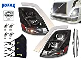 Volvo VNL Headlight Projection Black with LED bar Halos for Volvo Truck 630 670 730 780 2004-2017 - Set of 2- PLUS H7, H11, 2x H1 LED Bulbs, Chrome Fender Guard Trim Set, 3x Face Masks and 2x Wipers