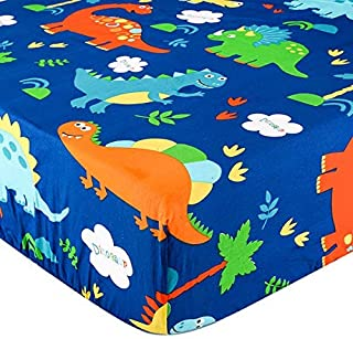 UOMNY Crib Sheet 100% Cotton Crib Fitted Sheets Baby Sheet for Standard Crib and Toddler mattresses Nursery Bedding Sheet Crib Mattress Sheets for Boys and Girls1 Pack Dinosaur