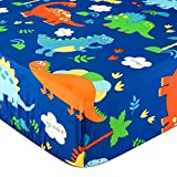 UOMNY Crib Sheet 100% Cotton Fitted Crib Sheet Baby Sheet for Standard Crib and Toddler mattresses Nursery Bedding Sheet Crib Mattress Sheets for Boys and Girls1 Pack Dinosaur Toddler Sheet