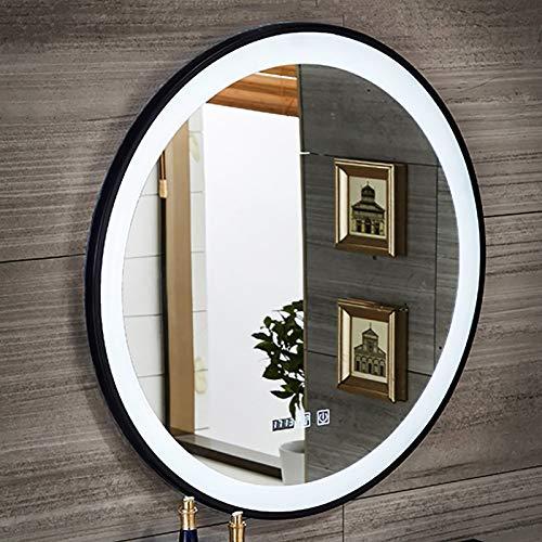 GETZ Espejos de baño redondos con luz LED, espejo de maquillaje con sensor de control táctil, luz blanca de 6500 K, marco de metal, IP65, espejos libres de cobre, negro