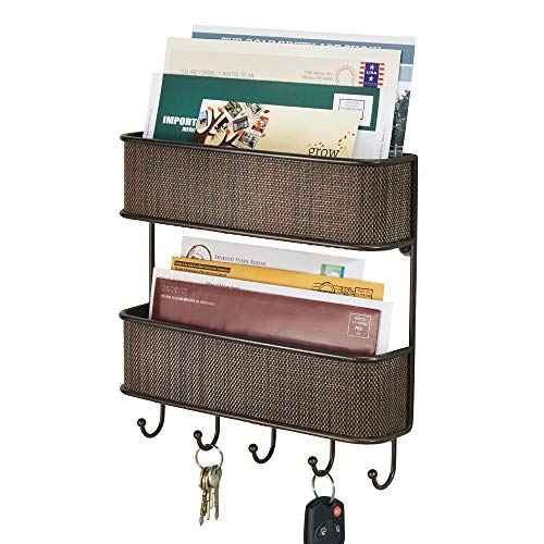 mDesign Wall Mount Metal Woven Mail Organizer Storage Basket