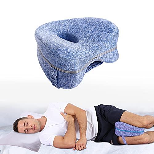 Almohada Ortopédica Pierna y Rodilla – 100% Espuma con Memoria & Diseño extraíble y lavable para Alivia el Dolor de Espalda Cadera y Articulaciones Soporte para el Tobillo y la Rodilla