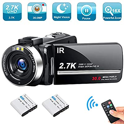 Video Camera Camcorder Weton 2.7K Ultra HD Digital YouTube Vlogging Camera 30MP IR Night Vision Digital Recorder 3.0 Inch 270 Degree Rotation Screen 16X Digital Zoom Camcorders with 2 Batteries from Weton