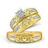 Juego de anillos de boda de oro amarillo de 14 quilates con diamante redondo Claddagh a juego para novia 1/8 Cttw