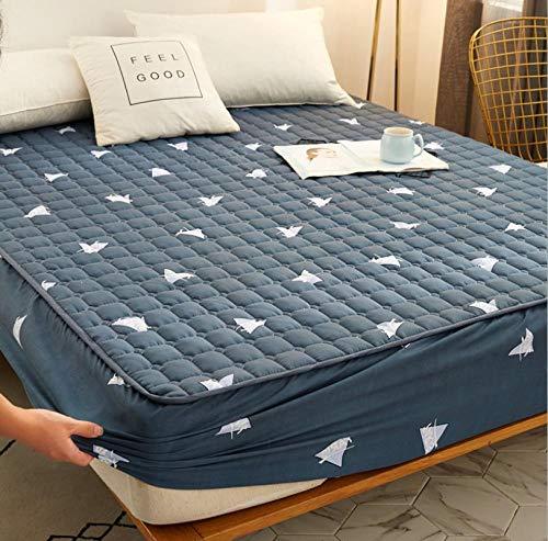 KIrSv Protector de colchón,Juegos de sábanas Acolchadas de Franela, Funda de Cama Ajustada y Gruesa cálida, para la Funda de colchón de Lana de Coral de Invierno King-F_120x200cm+25cm