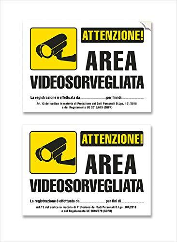 2 Adesivi Videosorveglianza impermeabili, in PVC - mis: 20X15 cm - Italiano, 2 pz.
