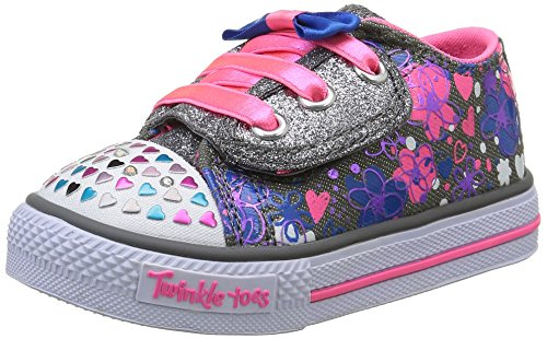 Skechers Infant/Toddler Girls' Twinkle Toes Shuffles Lil Bitty Bops Sneaker,Char Charcoal/Pink