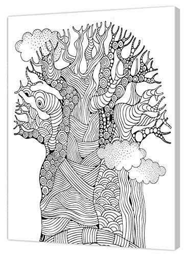 pintcolor 9102 châssis avec toile imprimée à colorier, Wood, blanc/noir, 40 x 50 x 3,5 cm
